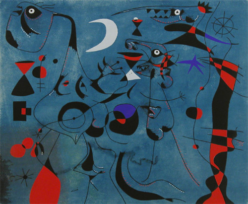 Miro - People at Night Guided by the Phosphorescent Trails of Snails (1959)