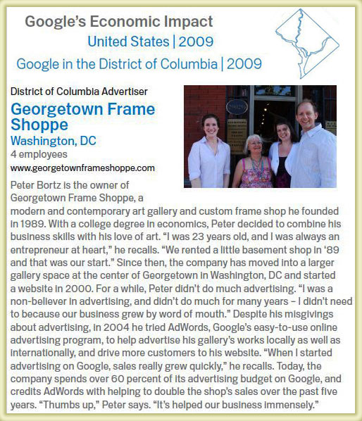 Georgetown Frame Shoppe featured in Google\'s Economic Impact Release ...