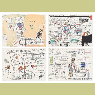 Jean-Michel Basquiat Set of Four (Wolf Sausage, King Brand, Dog Leg Study, Undiscovered Genius)