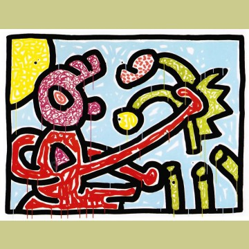 Keith Haring Flowers Plate 1