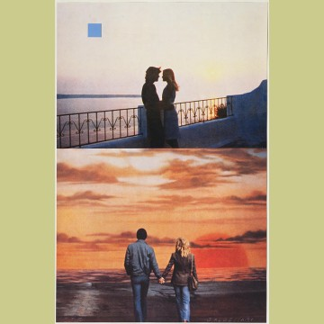 John Baldessari Two Sunsets (One with Square Blue Moon)