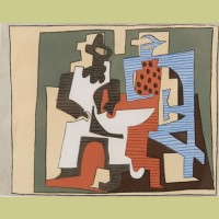 Pablo Picasso (after) Pierrot and Harlequin Seated