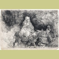Rembrandt van Rijn The Flight into Egypt: Crossing a Brook