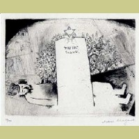 Marc Chagall The Grave of Father, from Mein Leiben
