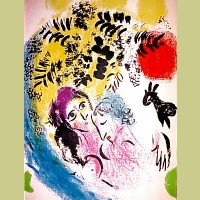 Marc Chagall Lovers With Red Sun
