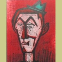 Bernard Buffet Clown on a Red Background