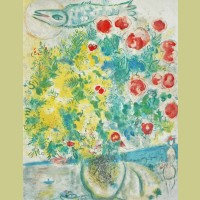 Marc Chagall (after) Roses and Mimosa