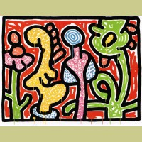 Keith Haring Flowers Plate 4