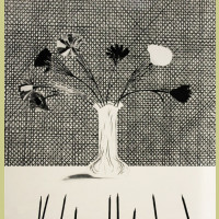 David Hockney Flowers Made of Paper and Black Ink