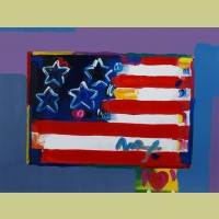 Peter Max Flag With Heart