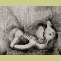 Henry Moore Reclining Figure, Piranesi Background 11