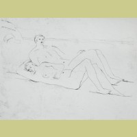 Henry Moore Reclining Figures on Beach