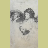 Rembrandt van Rijn Three Heads of Women, One Asleep