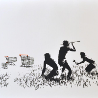Banksy Trolleys (Black and White)