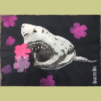 Bambi Gold Tooth Shark With Pink and Purple Flower Power