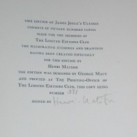 Henri Matisse Ulysses Justification Page