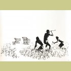 Banksy Trolleys (Black & White)