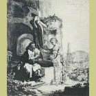 Rembrandt van Rijn Christ and the Woman of Samaria, Among Ruins