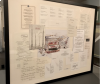 Here we floated a collage of DC area restaurant menus on an off-white silk mat and press-fitted under plexiglas.
