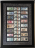A collection of banknotes we floated on grey suede and framed in black under museum glass.